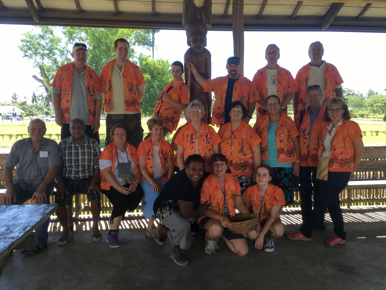 The team ready to fly out of Honiara with their gifted Solomon Island shirts
